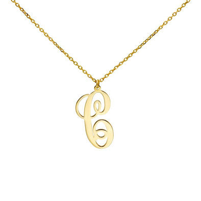 Calligraphy Monogram Initial Necklace