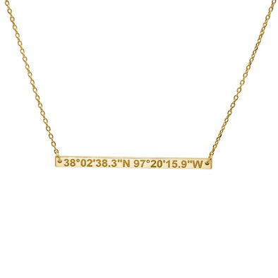 Thin Coordinates Bar Necklace in Gold Vermeil