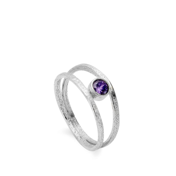 Double Band Birthstone Ring