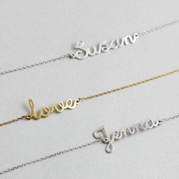 3 name bracelets in silver and gold