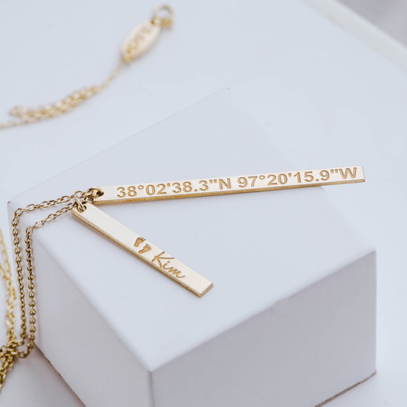 Custom vertical bar necklace with coordinates
