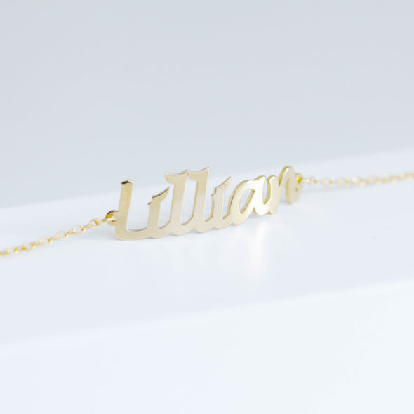 Gold personalized name bracelet