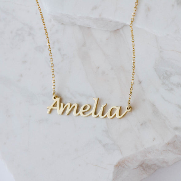 Script Name Necklace in Gold Vermeil