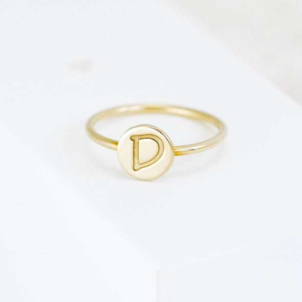 Initial Disc Ring in 14K Solid Gold