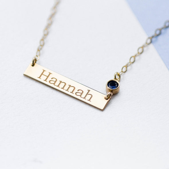 Name Bar Birthstone Necklace in Gold Vermeil