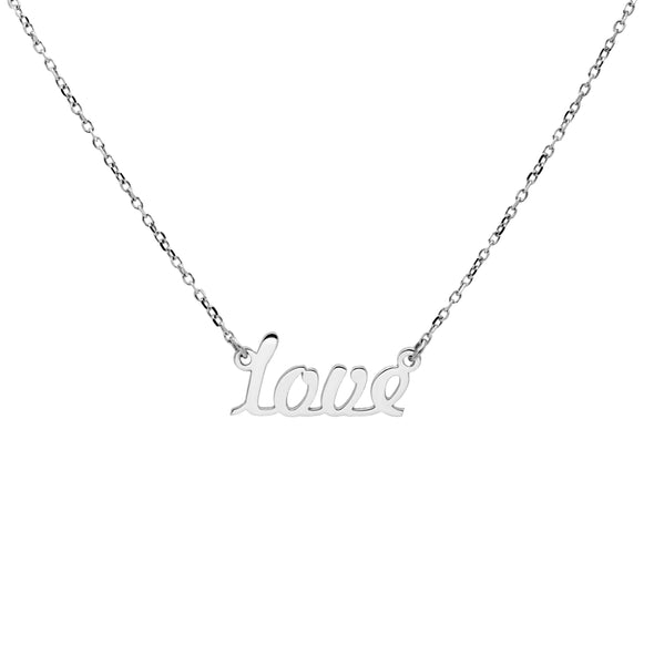 "a silver ""love"" chain necklace"