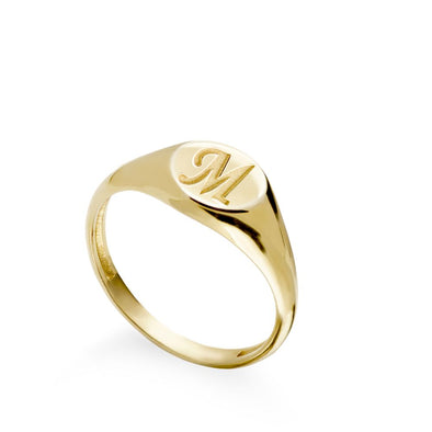 Signet Ring Initial Engraved Gold plated