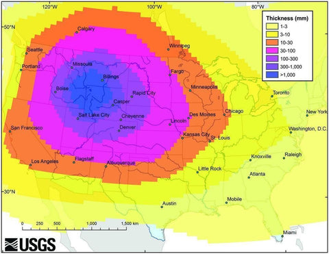 Yellowstone Supervolcano Ash Map