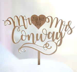 Curly Swirl Heart Mr & Mrs Custom Topper