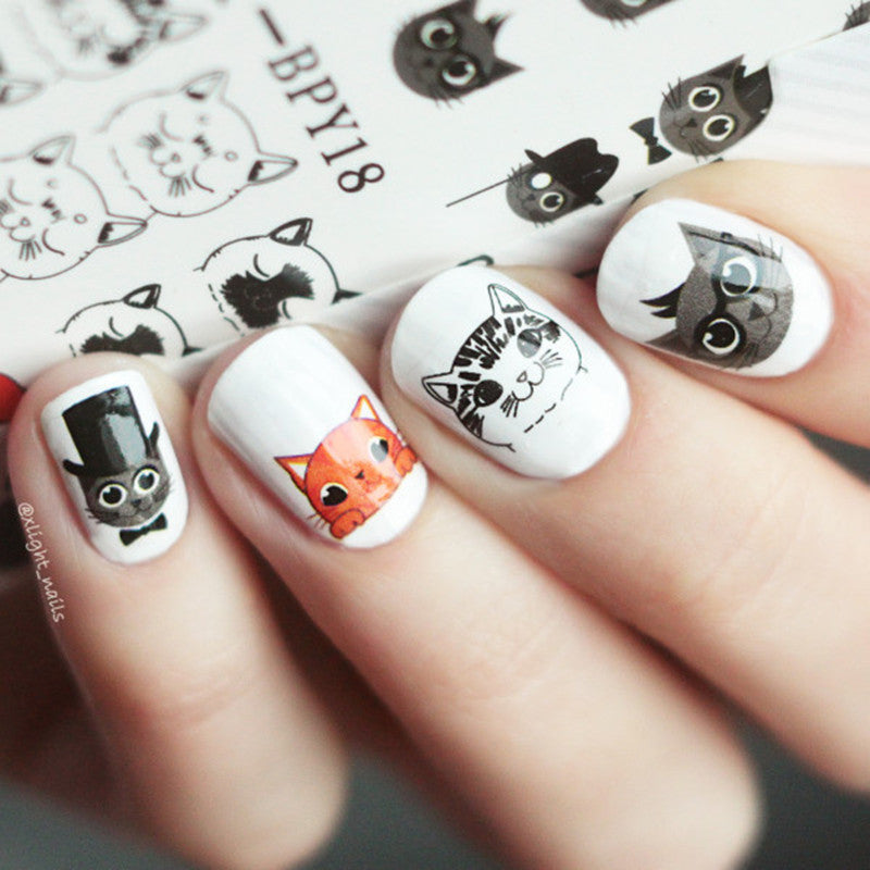 Cute Cat Nail Art Water Decals – Cameow