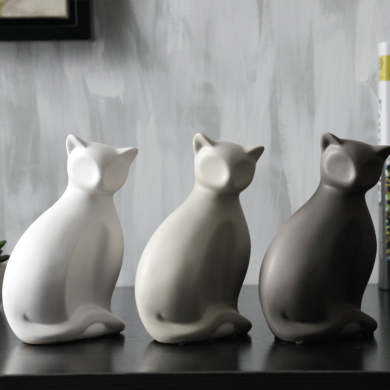 Minimalist ceramic lucky cat statue cameow for Minimalist household items