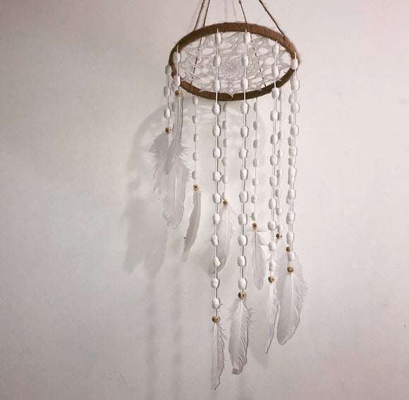 jute/white spiral dreamcatcher with wooden ABC beads