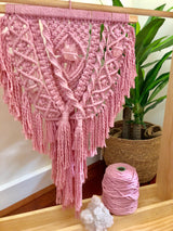 dusty pink crystal macramè wall hanging