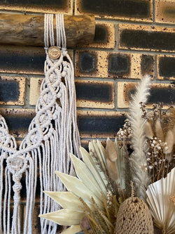 natural quartz macramé wall hanging