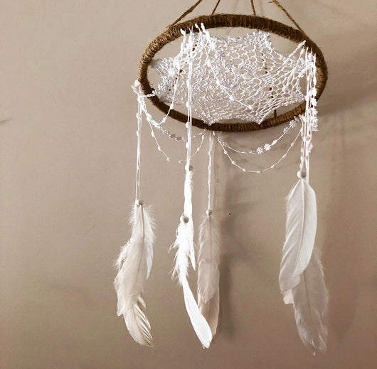 jute/white mobile dreamcatcher