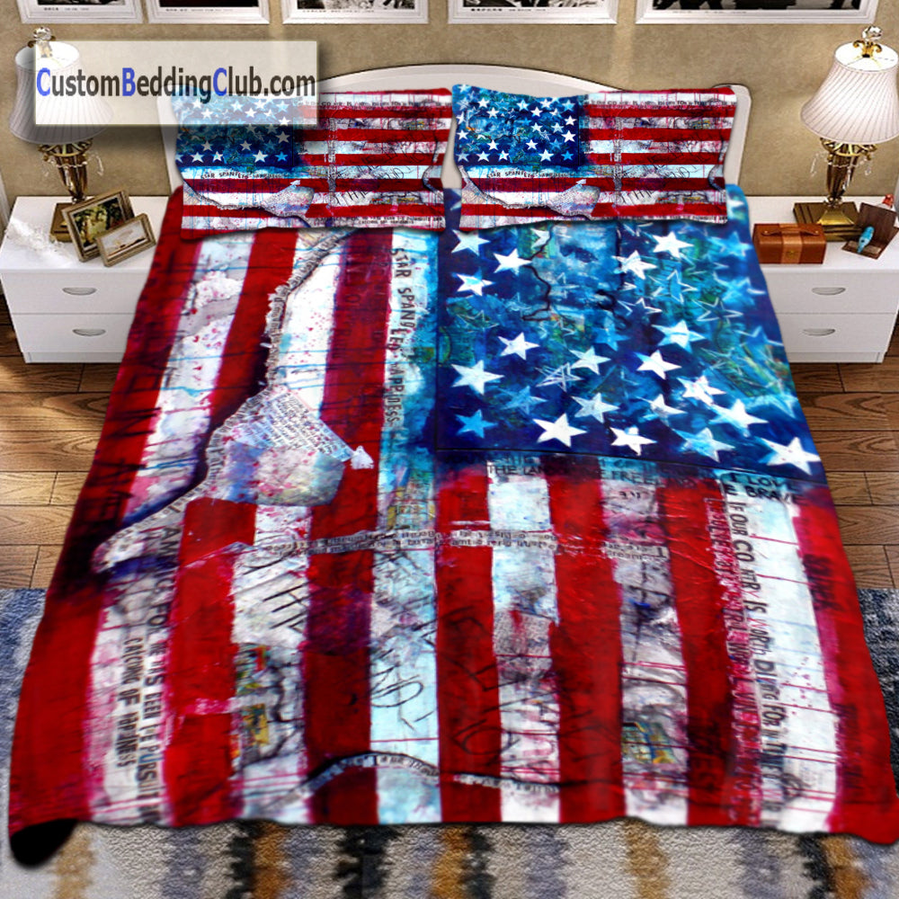 Brand new American Flag Bed Set, Bed Sheets & blanket | US Flag Bedding  QG77