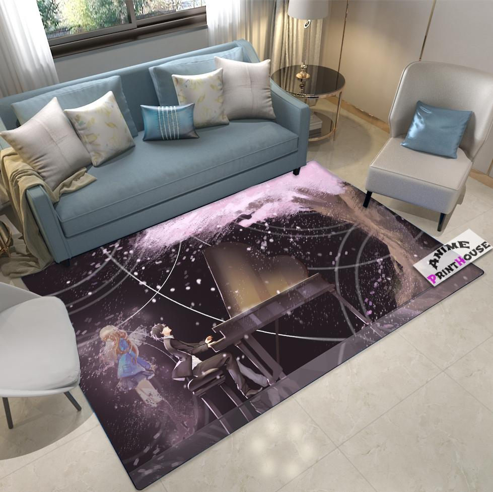 Anime Rug, Your Lie in April Carpet with Black Background