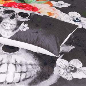 Skull Bedding Set & Pillow Cases with Floral Theme