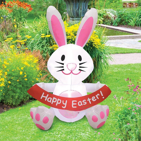 5' Air Blown Inflatable Easter Bunny w/ Happy Easter Banner SKU: GTF00016-5