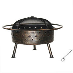 32 x 12 Inches Heavy Duty Fire Pit Cover Black by Aleko
