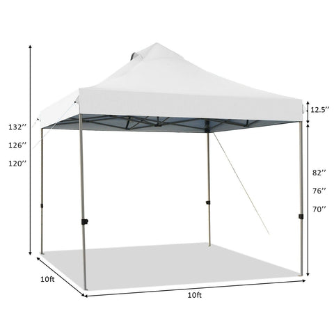 Costway Canopy Tent 10' x 10' Portable Pop Up Canopy Event Party Tent Adjustable with Roller Bag by Costway