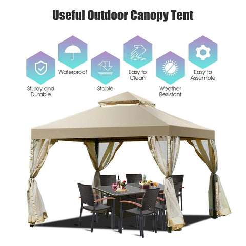 Costway Canopy Tent Outdoor 2-Tier 10' x 10' Screw-free Structure Shelter Gazebo Canopy by Costway 10' x 20' 6 Sidewalls Canopy Tent with Carry Bag by Costway 72861954