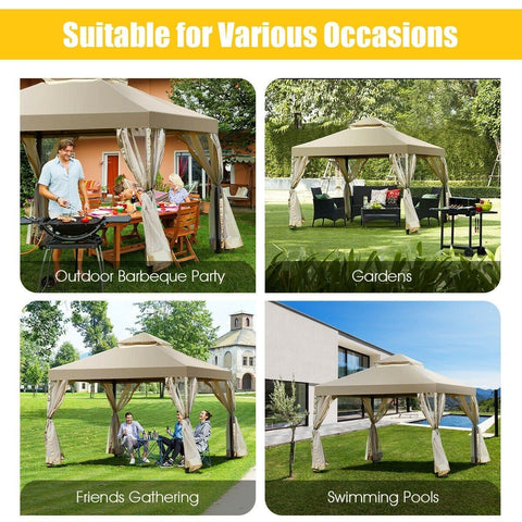 Costway Canopy Tent Outdoor 2-Tier 10' x 10' Screw-free Structure Shelter Gazebo Canopy by Costway 50978413
