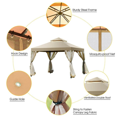 Costway Canopy Tent Outdoor 2-Tier 10' x 10' Screw-free Structure Shelter Gazebo Canopy by Costway 796914873877 50978413