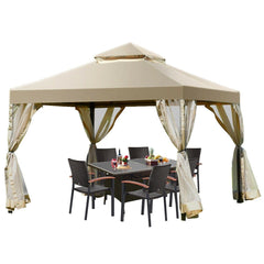 Outdoor 2-Tier 10' x 10' Screw-free Structure Shelter Gazebo Canopy by Costway