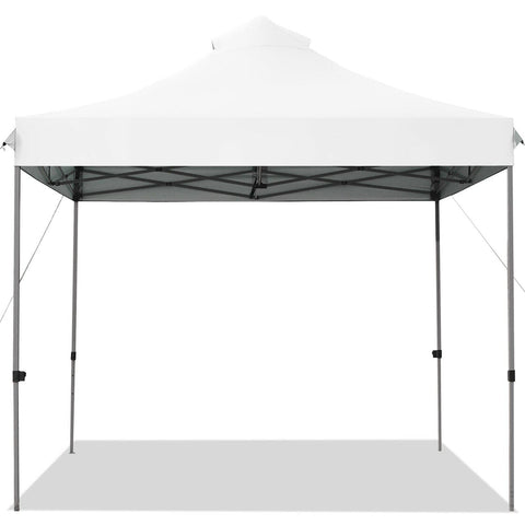 Costway Canopy Tent White 10' x 10' Portable Pop Up Canopy Event Party Tent Adjustable with Roller Bag by Costway 6499852220928 61452307-W