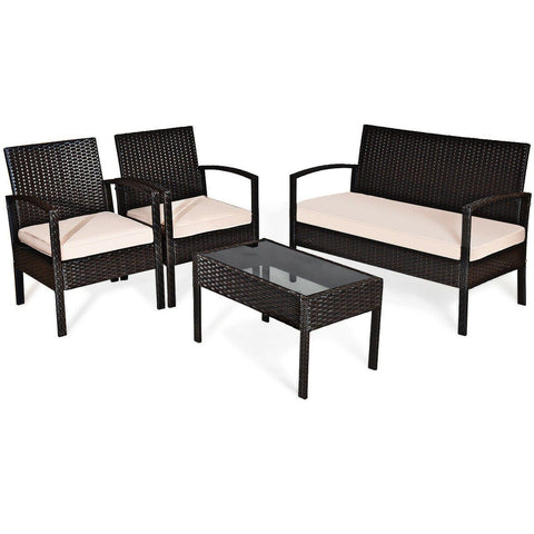 Costway Outdoor Furniture 4 Pcs Patio Furniture Sets Rattan Chair Wicker Set Outdoor Bistro by Costway