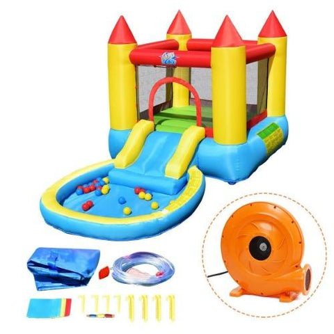 Costway Residential Bouncers Included Kids Inflatable Bounce House Castle with Balls Pool & Bag by Costway 7461758555878 48130795-I Kids Inflatable Bounce House Castle with Balls Pool & Bag by Costway SKU# 48130795