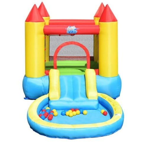 Kids Inflatable Bounce House Castle with Balls Pool & Bag by Costway