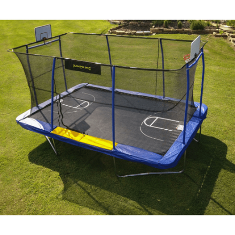 Jump King Trampoline Jumpking 10' x 15' Rectangular BB Hoop, Volleyball, Court, Foot Step 2020 by JumpKing