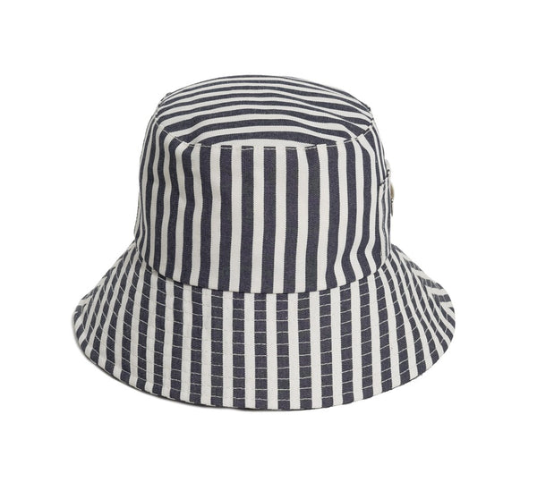 BUCKET HAT -LAURENS NAVY STRIPE