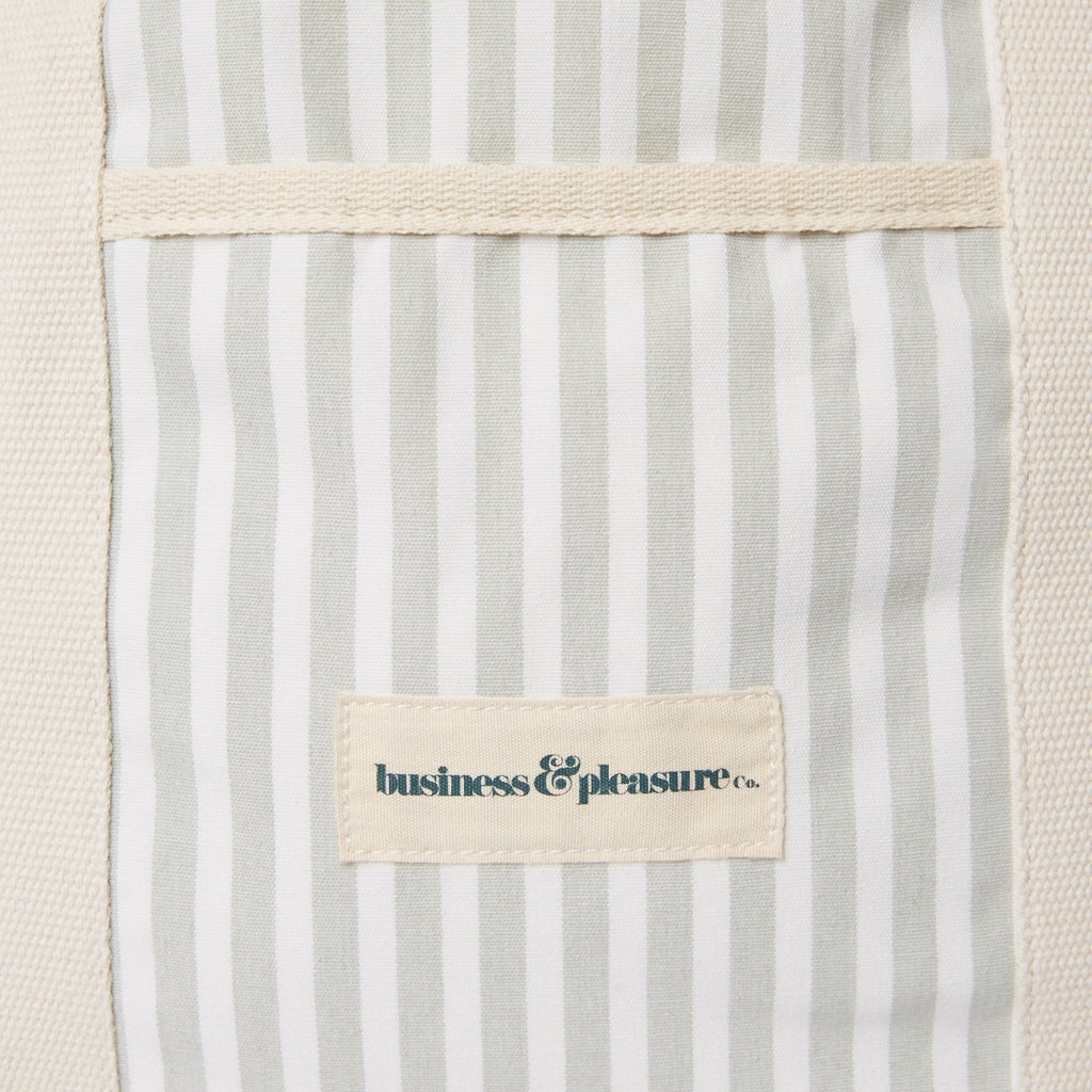 The Beach Bag - Lauren's Sage Stripe - Business & Pleasure Co