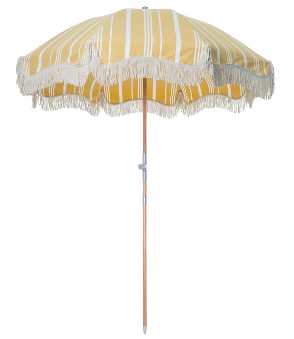 The Premium Beach Umbrella - Vintage Yellow Stripe