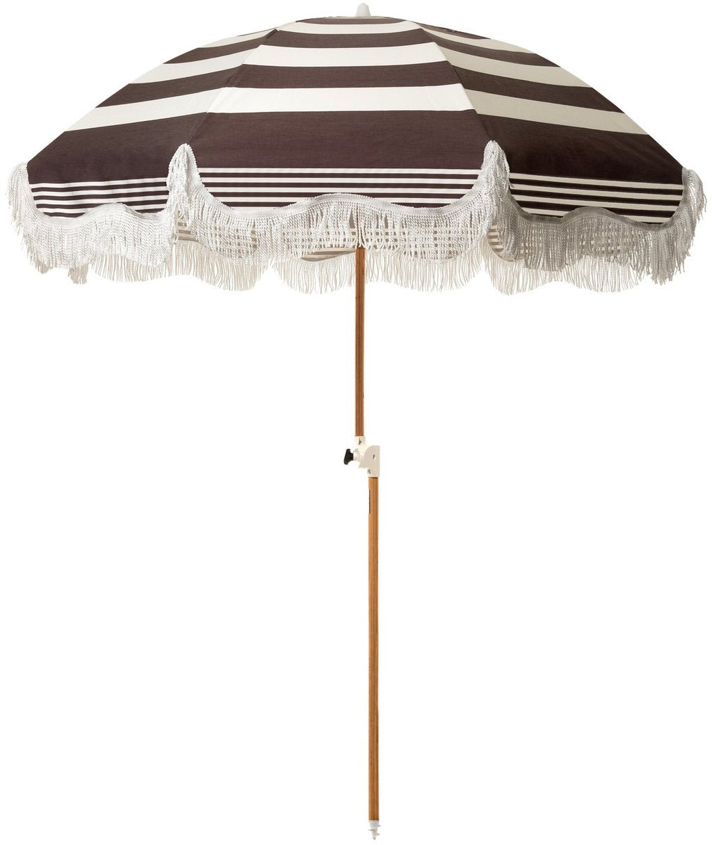 The Holiday Beach Umbrella - Black Riviera Stripe - Business & Pleasure Co