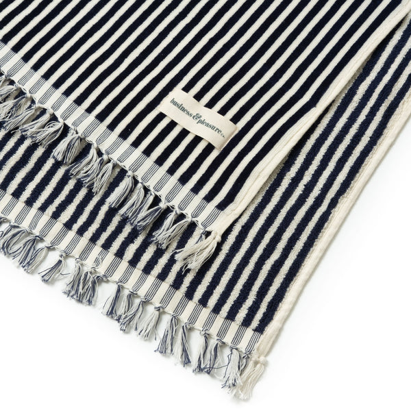 The Beach Towel - Lauren's Navy Stripe - Business & Pleasure Co