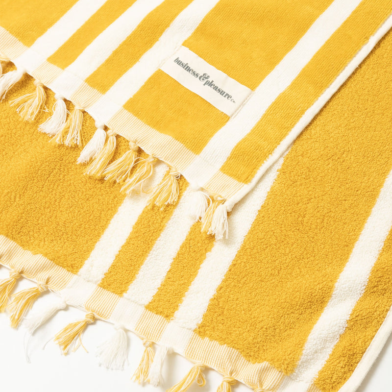The Beach Towel - Vintage Yellow Stripe - Business & Pleasure Co