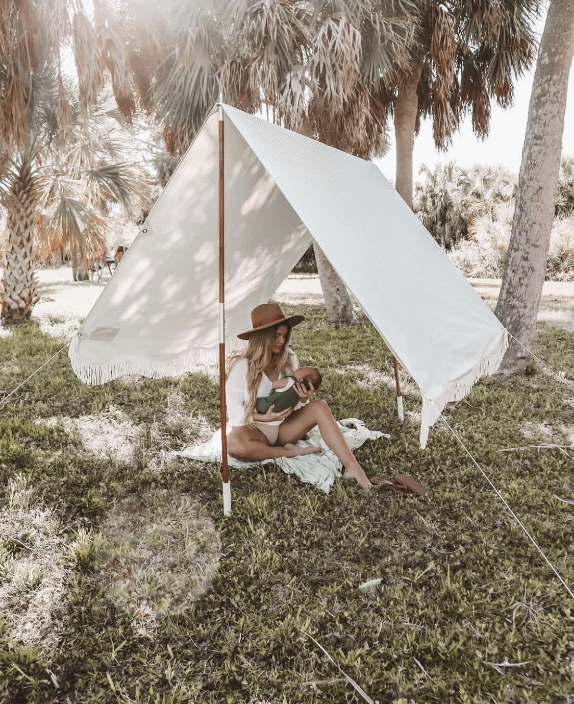 The Premium Beach Tent - Lauren's Sage Stripe - Business & Pleasure Co