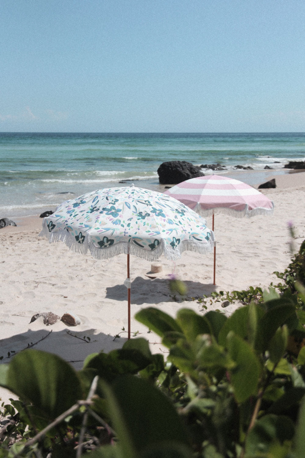 Pink Stripe Beach Umbrella - FREE SHIPPING
