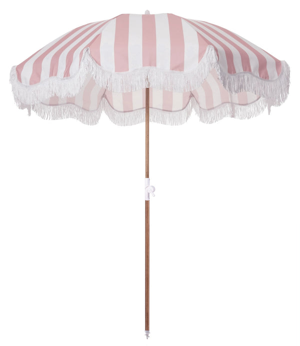 The Holiday Beach Umbrella - Crew Pink Stripe
