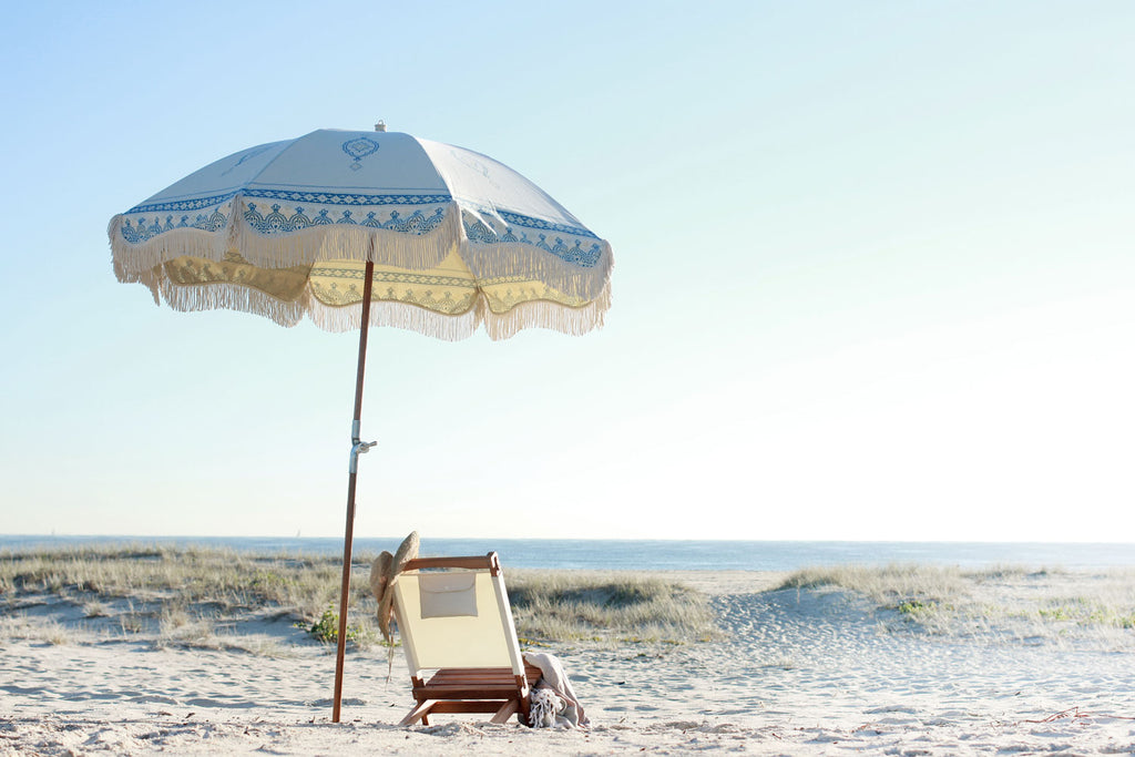 Temple White Premium Beach Umbrella