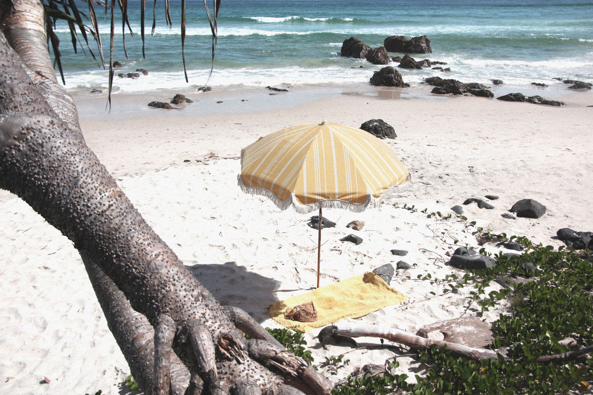 Vintage Yellow Stripe Beach Umbrella - FREE SHIPPING
