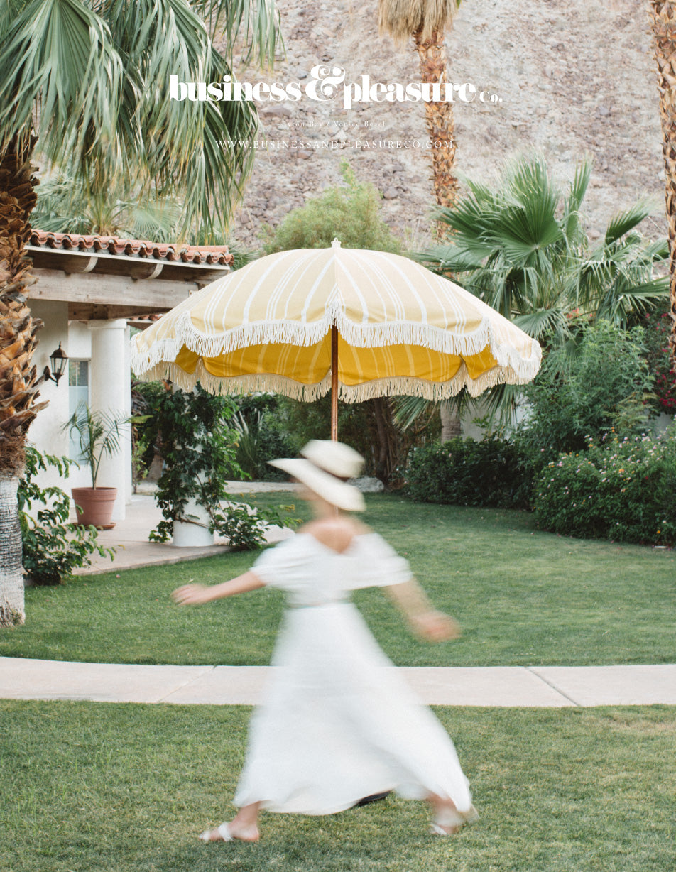 The Patio Umbrella - Vintage Yellow Stripe