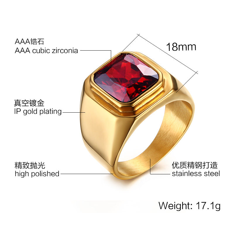 Personality tide mosaic Imitation red gem.