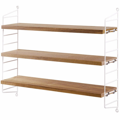 White/Oak String Pocket Shelves