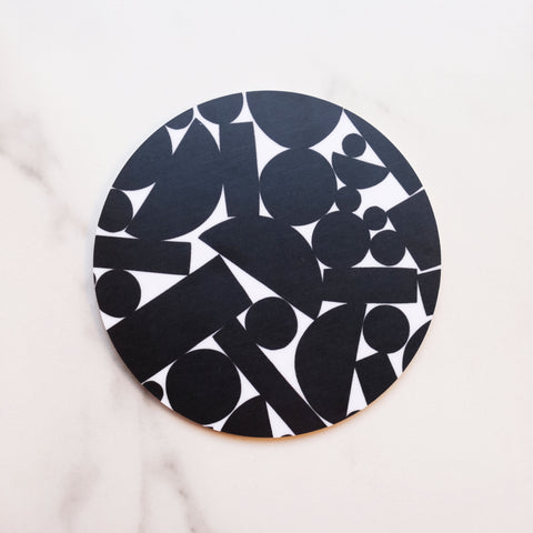 Black on White Puzzle Coaster