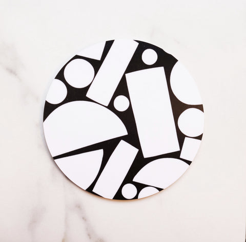 White on Black Puzzle Coaster